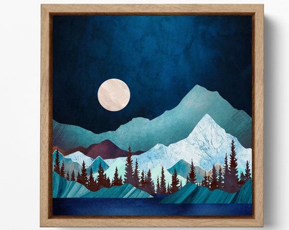 Moonlight Nordic Style Wall Decor Framed Canvas Print