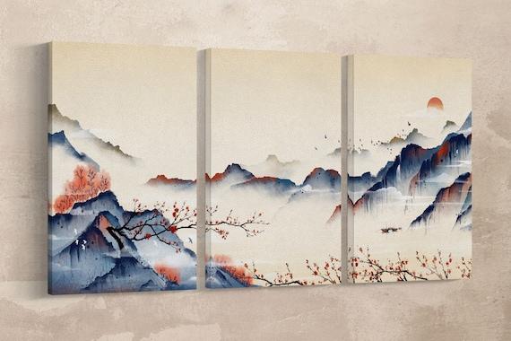 Japan Mountain Landscape at Dawn Illustration Wall Art Framed Canvas Print