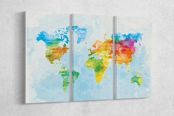 Color Sketched World Map Leather Print/Large World Map/Multi Panels World Map/Multi Pieces World Map/Wall Art/Better than Canvas!