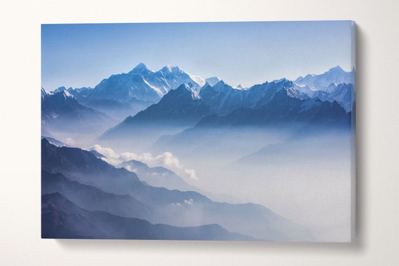 Mount Everest and Himalayan range framed canvas leather print/Large wall art/Mountain wall art/Nature print/Made in Italy/Better than canvas