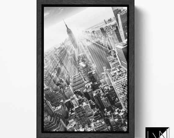 New York City with Empire State Building black&white leather print/Empire State Bulding canvas/Large wall art/Wall decor/Made in Italy