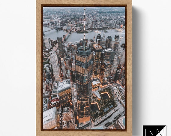Freedom Tower/One World Trade Center Framed Canvas Leather Print/Large Wall Art/Large Wall Decor/NY Skyline/Better than Canvas!