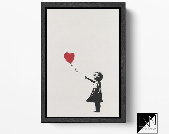 Girl With Balloon by Banksy Leather Print/Balloon Girl/Wall Art/Wall Decor/Large Print/Artwork/Red Heart/Made in Italy/Better than Canvas!