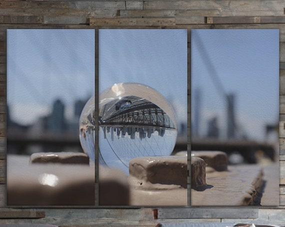 3 Panel Brooklyn Bridge in a Sphere Leather Print/New York Print/Multi Pieces Print/Wall Art/Extra Large Print/Better than Canvas!
