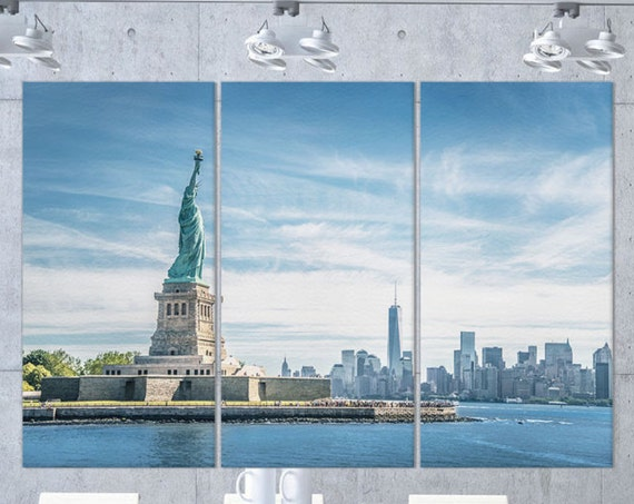 Statue of Liberty, Manhattan Leather Print/New York Print/Multi Panel Print/Multi Piece Print/Extra Large Print/Better than Canvas!