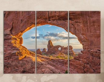 3 Panel Arches National Park in Utah Leather Print/Extra Large Print/Large Arches National Park Utah/3 Pieces Wall Art/Better than Canvas!