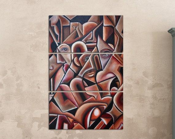 Cubism Artwork Leather Print/Wall Art/Cubism Art/Large Print/Multi Panel Print/Better than Canvas!