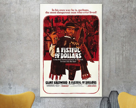 A Fistful of Dollars Poster Leather Print/Playbill Print/Classic Movies Print/A Fistful of Dollars Wall Art/Sergio Leone/Better than Canvas!
