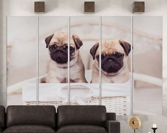 Puppy Pugs Leather Print/Extra Large Print/Multi Panels Print/Multi Pieces Print/Wall Art/Wall Decor/Better than Canvas!