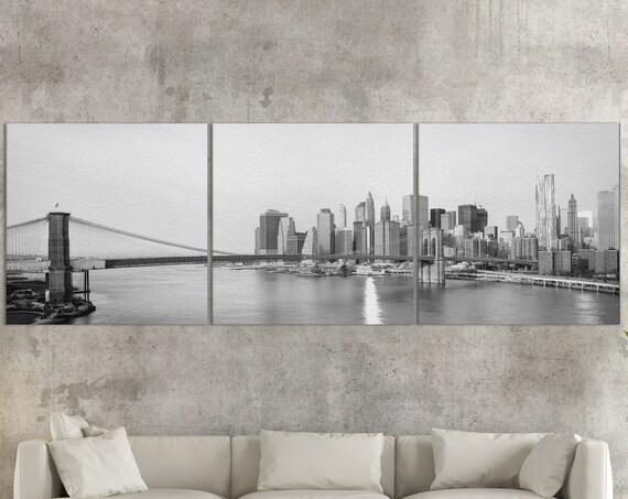 New York City Skyline and Brooklyn Bridge B&WLeather Print/Large New York Print/New York Wall Art/Multi Panel Print/Better than Canvas!