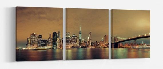 Manhattan Downtown urban view with Brooklyn bridge at night Leather Print/Large New York print/Large Manhattan wall art/Better than Canvas!