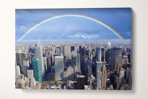 Rainbow Over Manhattan Leather Print/Large New York Canvas/Large Wall Art/Wall Decor/Multi Panel Print/Made in Italy/Better than Canvas!