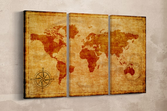 3 Pieces Old World Map with Compass Leather Print/Vintage World Map/Large Wall art/Extra large World Map/Wall decor/Better than Canvas!