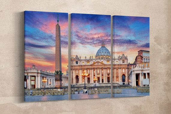 3 Pieces St. Peter's Basilica, Vatican, Rome Leather Print/Large Rome Print/Large Wall Art/Multi Panel/Made in Italy/Better than Canvas!