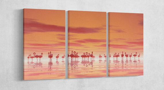 Pink Flamingos on Lake Leather Print/Animal Print/Extra Large Print/Wall art print/Wall decor Print/Multi panel print/Better than Canvas!