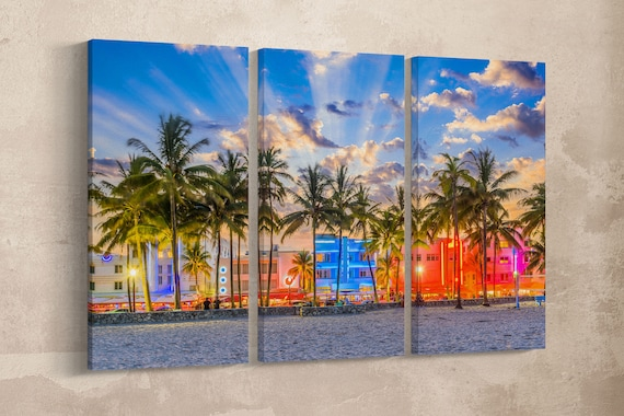 Miami Beach South Beach Sunset in Ocean Drive Canvas Leather Print/Large Miami Print/South Beach/Wall Art/Made in Italy/Better than Canvas!