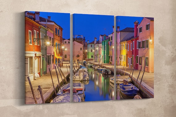 3 Pieces Burano island, Venezia canal and colorful houses Leather Print/Burano Large Print/Burano Wall Art/Multi Panel/Better than Canvas!
