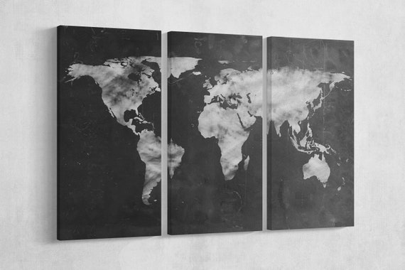 Large World Map Black and White Artwork Leather Print/Big Size World Map/Multi Pieces World Map/Extra Large World Map/Better than Canvas!