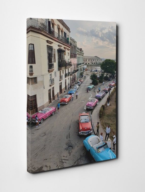 La Habana Cuba, Sunrise with colored taxies Leather Print/Cuba Canvas/Marecon/La Havana Print/Wall Art/Made in Italy/Better than Canvas!