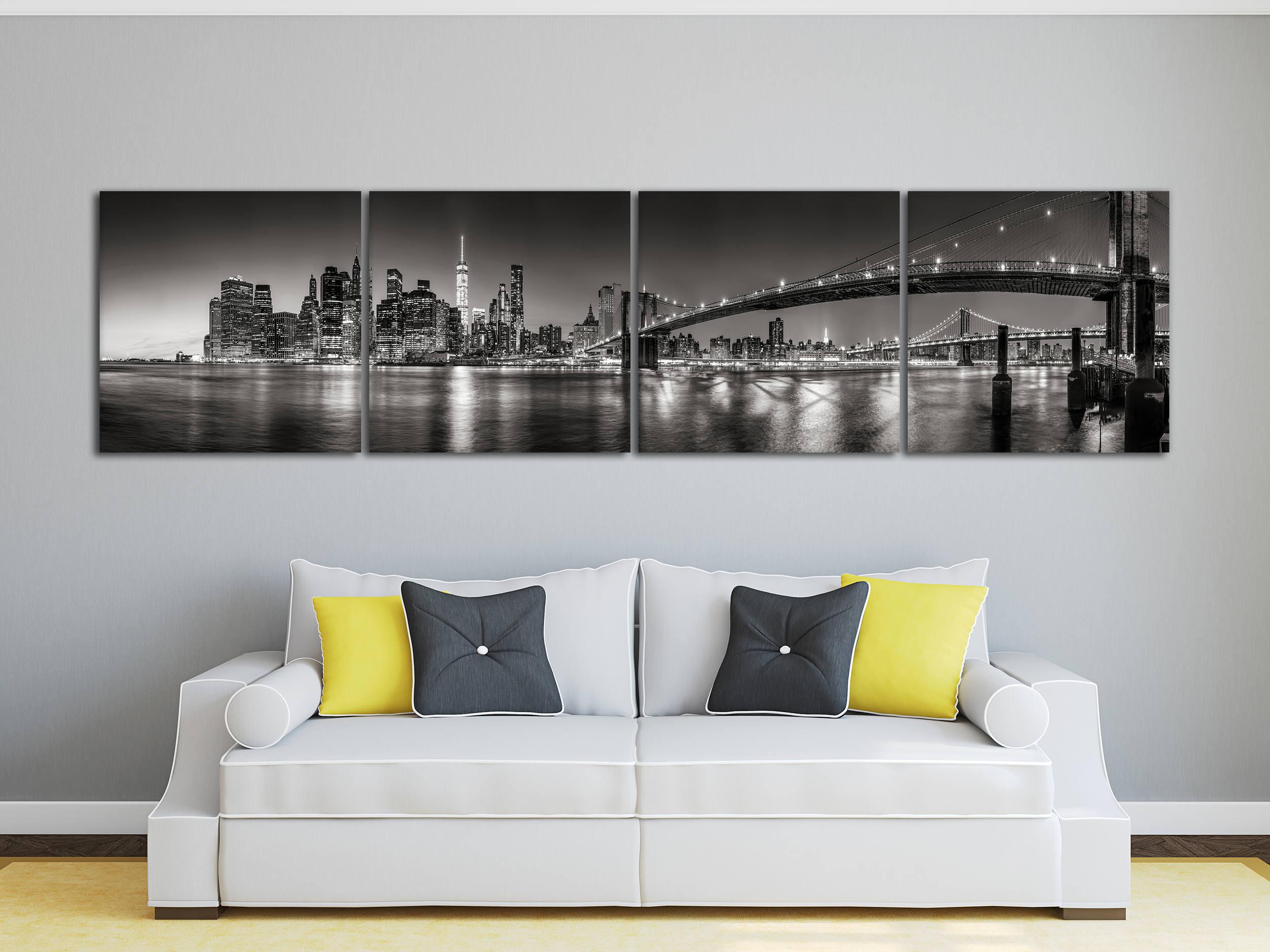 panoramic black and white manhattan new york city leather print new