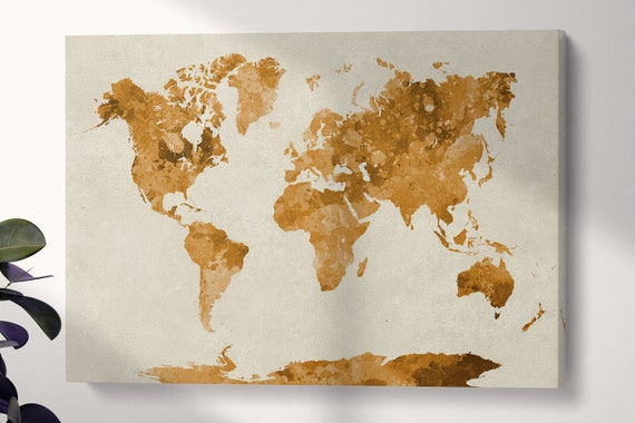 Multi Color World Map Watercolor Painting Abstract Splatter Leather Print/Large World Map/Multi Panel World Map/Wall Art/Better than Canvas!