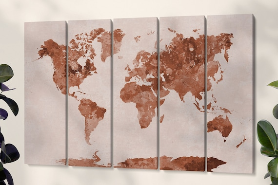 Colored World Map artwork 5 panel split framed canvas leather print/Large wall art/World map canvas/World map wall art/Made in Italy