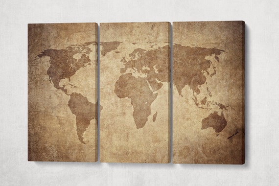 Large Brown Grunge World Map Leather Print/Large Wall Art/Wall Decor/Extra Large World Map/Multi Panel World Map/Better than Canvas!