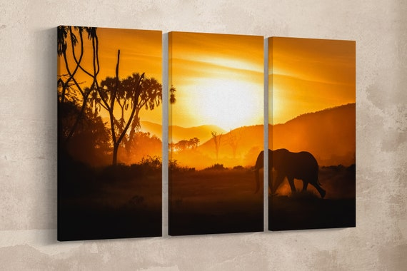 3 Pieces Safari Sunset Leather Print/Multi Panel Print/Wild Animal Print/Extra Large Print/Better than Canvas!