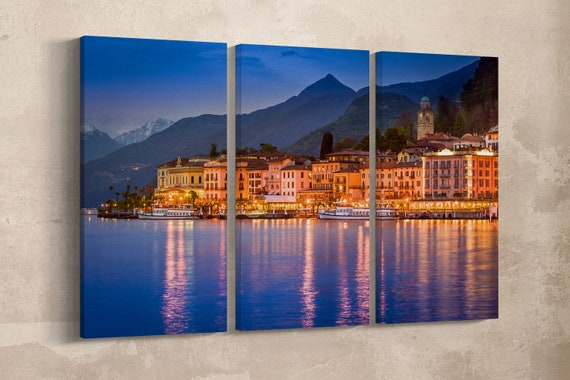 3 Panel Bellagio, Lake Como Leather Print/Lake Como print/Multi Panel Bellagio Print/Lake Como Wall Art/Made in Italy/Better than Canvas!