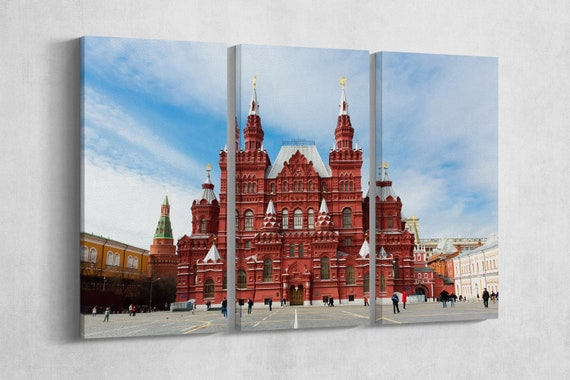 3 Panel Red Square, Moscow, Russia Leather Print/Large Red Square Print/Moscow Wall Art/Large Wall Art/Made in Italy/Better than Canvas!