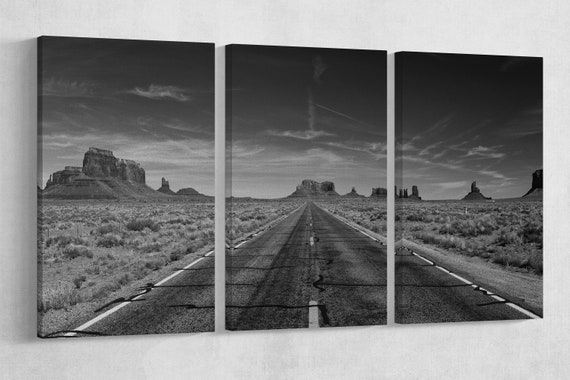Monument Valley Road B&W Leather Print/Wall Art/Wall Decor/Extra Large Print/Multi Panel Print/Monument Valley Print/Better than Canvas!