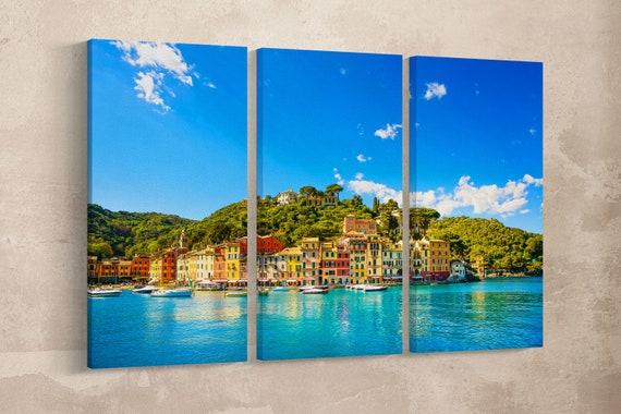 3 Pieces Portofino, Genova, Liguria, Italy Leather Print/Wall Art/Wall Decor/Multi Panel Print/Extra Large print/Better than Canvas!