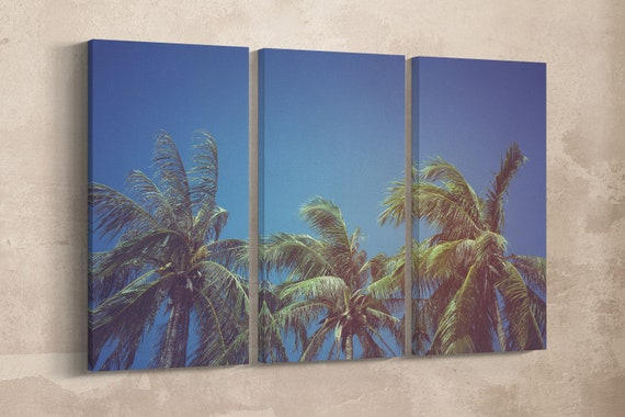 3 Panel Leaves of Coconut Vintage Filter Leather Print/Large Wall Art/Tropical Wall Art/Wall Decor/Made in Italy/Better than Canvas!