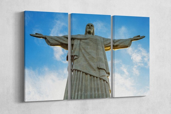 3 Panel Christ the Redeemer Brazil Leather Print/Rio de Janeiro/Corcovado/Large Wall Art/Large Wall Decor/Made in Italy/Better than Canvas!