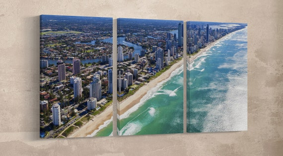 Gold Coast, Queensland, Australia Leather Print/Extra Large Wall Art/Multi Panel Wall Art/Large Wall Decor/Made in Italy/Better than Canvas!
