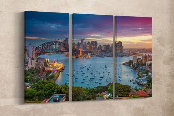 3 Panel Sydney Harbour Leather Print/Large Sydney Print/Large Wall Art/Multi Panel Wall Art/Australia Print/Made in Italy/Better than Canvas