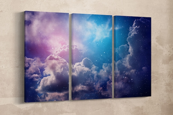 3 Pieces Space of Night Sky Artwork Leather Print/Large Wall Art/Large Wall Decor/Space Art Print/Made in Italy/ Better than Canvas!