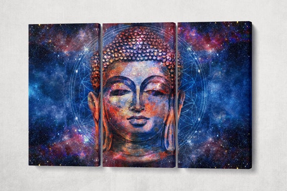 3 panel Buddha head mandala background artwork framed canvas leather print/Meditation print/Large wall art/Relaxing home decor/Made in Italy