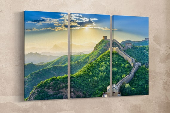 3 Pieces The Great Wall of China Leather Print/Large Wall Art/Large Wall Decor/Home Decor/Multi Panel Art/Made in Italy/Better than Canvas!