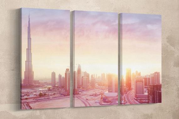 Dubai Sunrise Leather Print/Wall Art/Wall Decor/Extra Large Print/Multi Panel Print/Multi Pieces Print/Better than Canvas!
