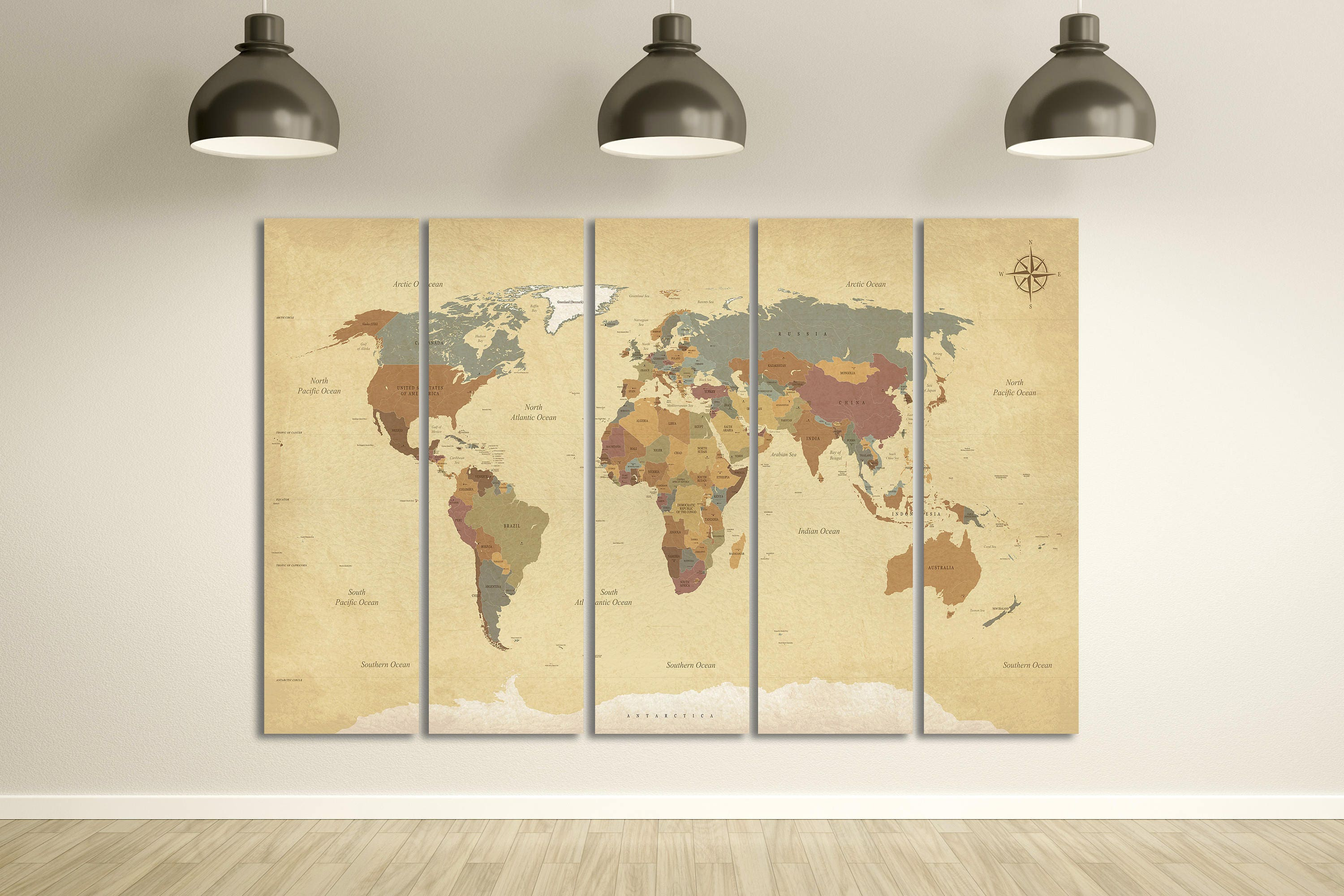 Push Pin Vintage Detailed World Map Leather Print/Big Size World Map ...