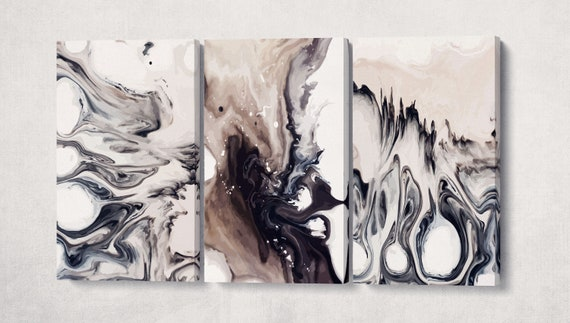 3 Panel Abstract Coffee Artwork Leather Print