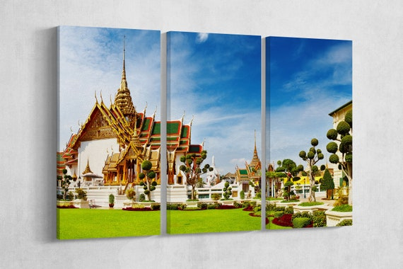 The Grand Palace Bangkok framed canvas leather print/Large Thailand print/Large wall art/Bangkok print/Made in Italy/Better than canvas!