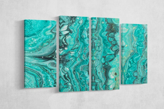 Marble-like green and blue pattern framed canvas artwork print