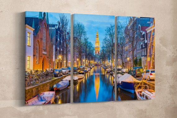 3 Panel Amsterdam Canal Leather Print/Amsterdam Large Print/Large Wall Art/3 Pieces Wall Art/Amsterdam Wall Decor/Better than Canvas!