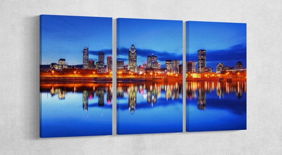 3 Panel Montreal City at Night, Canada Leather Print/Montreal Wall art/Montreal Multi Panel Print/Large Wall Decor/Better than Canvas!