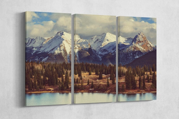 3 Panel Colorado Mountains Leather Print/Large Wall Art/Large Wall Decor/Nature Print/3 Pieces Wall Art/Made in Italy/Better than Canvas!