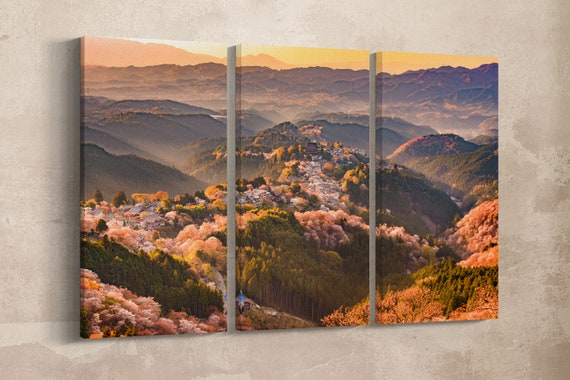 3 Panel Yoshinoyama Japan in Spring Leather Print/Large Japan Canvas/Cherry Tree Large Print/Large Wall Art/Made in Italy/Better than Canvas
