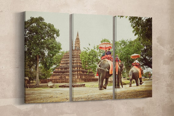 3 Pieces Ayutthaya, Thailand Walking with Elephants Vintage Style Leather Print/Large Wall Art/3 Panel Wall Decor/Better than Canvas!