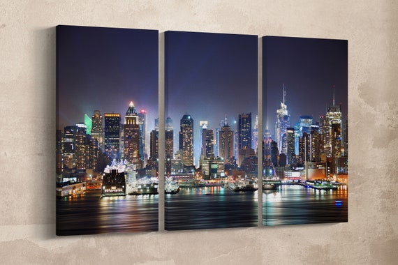 3 Panel New York City Manhattan Skyline over Hudson River Leather Print/Large New York Print/Large Wall Art/Made in Italy/Better than Canvas